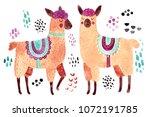 cute illustration. watercolor... | Shutterstock . vector #1072191785