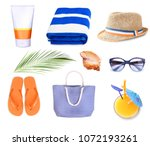 summer resort objects collage... | Shutterstock . vector #1072193261