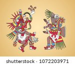 quetzalcoatl  feathered serpent ... | Shutterstock .eps vector #1072203971