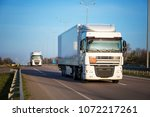 arriving white truck on the... | Shutterstock . vector #1072217261