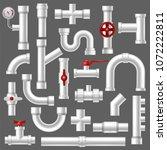 pipe vector plumbing pipeline... | Shutterstock .eps vector #1072222811