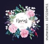 vector round botanical frame... | Shutterstock .eps vector #1072236911