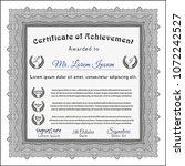 grey diploma template or... | Shutterstock .eps vector #1072242527