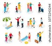 isometric travelers characters... | Shutterstock .eps vector #1072243244