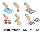 isometric hand indicates... | Shutterstock .eps vector #1072243265