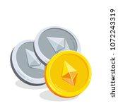 ethereum. 2d cartoon coin.... | Shutterstock .eps vector #1072243319