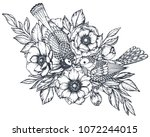vector black and white floral... | Shutterstock .eps vector #1072244015