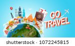 travel concept vector... | Shutterstock .eps vector #1072245815