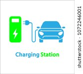 electric car and charging... | Shutterstock .eps vector #1072246001