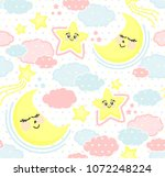seamless moon and clouds... | Shutterstock .eps vector #1072248224