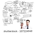man drawing plan strategy success - stock photo