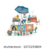 the man selling secondhand... | Shutterstock .eps vector #1072253804
