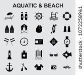aquatic beach icons set vector    Shutterstock .eps vector #1072258961