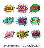 set of colorful pop art style... | Shutterstock .eps vector #1072260374