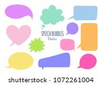 speech bubbles vector set. hand ... | Shutterstock .eps vector #1072261004