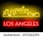 neon silhouette of los angeles  ... | Shutterstock .eps vector #1072262291