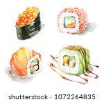 watercolor set of different...   Shutterstock . vector #1072264835