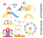 funny slides  colorful merry go ... | Shutterstock .eps vector #1072266941