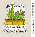 sticker with cactuses in pot... | Shutterstock .eps vector #1072277429