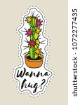 sticker with cactus in pot with ... | Shutterstock .eps vector #1072277435