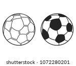 isolated black soccers ball... | Shutterstock .eps vector #1072280201