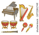 set of musical instruments.... | Shutterstock .eps vector #1072281749