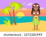 jamaican woman in national... | Shutterstock .eps vector #1072281995