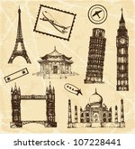 hand drawn travel architecture... | Shutterstock .eps vector #107228441