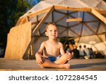 theme is yoga and children.... | Shutterstock . vector #1072284545