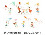kids and their parents running... | Shutterstock .eps vector #1072287044