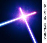 two crossed light neon tubes.... | Shutterstock .eps vector #1072298705