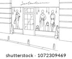 clothing store shop exterior... | Shutterstock .eps vector #1072309469