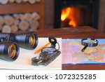travel and tourism items on a... | Shutterstock . vector #1072325285