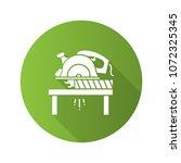 circular saw cutting wooden... | Shutterstock .eps vector #1072325345