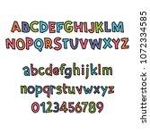 colored latin alphabet.... | Shutterstock .eps vector #1072334585