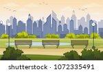 summer city park landscape in... | Shutterstock .eps vector #1072335491