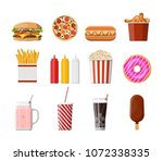 fast food icons set. burger ... | Shutterstock .eps vector #1072338335