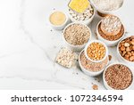 selection various types cereal... | Shutterstock . vector #1072346594