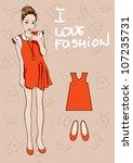fashion girl   Shutterstock .eps vector #107235731