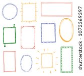 hand drawn set of simple frame... | Shutterstock .eps vector #1072369397