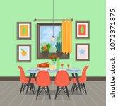 modern cozy dining room... | Shutterstock .eps vector #1072371875