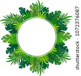 background with tropical leaves | Shutterstock .eps vector #1072376087