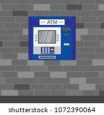 atm machine on a brick wall... | Shutterstock .eps vector #1072390064