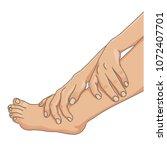 female legs barefoot with hands ... | Shutterstock .eps vector #1072407701
