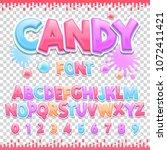 candy latin font design. sweet... | Shutterstock .eps vector #1072411421