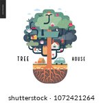 tree house concept   a tree... | Shutterstock .eps vector #1072421264