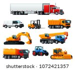 road transport and heavy... | Shutterstock .eps vector #1072421357
