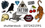 set of fashion patches. tattoo... | Shutterstock .eps vector #1072421591