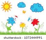 sun clouds and butterflies over ... | Shutterstock .eps vector #1072444991