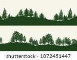 green forest trees silhouettes... | Shutterstock . vector #1072451447